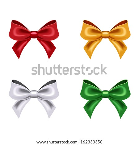 Set of four bows. Vector illustration. - stock vector