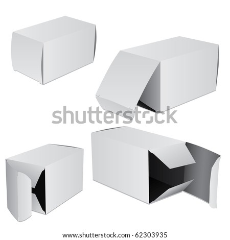 Set of four boxes - stock vector
