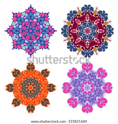 Set of four bright eastern round ornaments mandalas isolated over white - stock vector