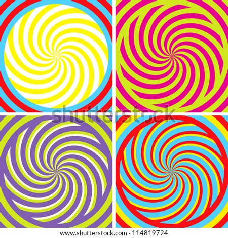 Set of four bright hypnotic Poster - stock vector