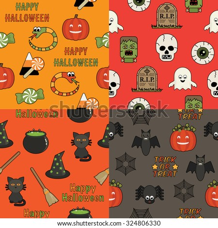 set of four bright seamless halloween pattern decorations - stock vector