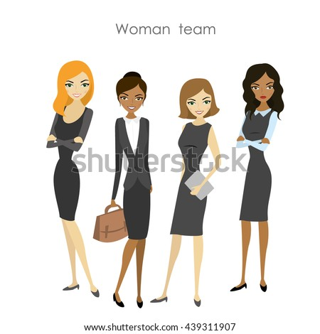 Set of four business woman, cartoon female team, vector illustration