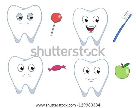 set of four cartoon teeth with good and bad stuff - stock vector