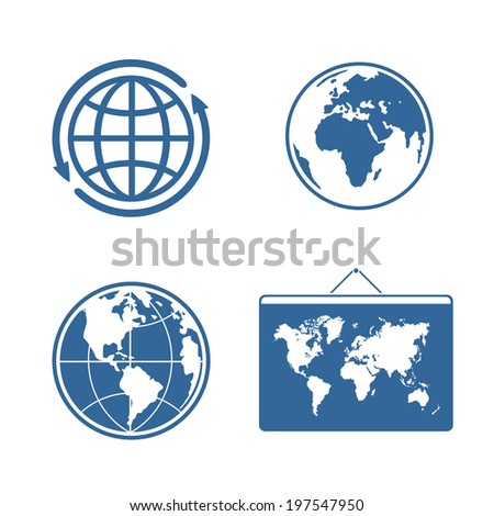 Set of four characters planet for your design - stock vector