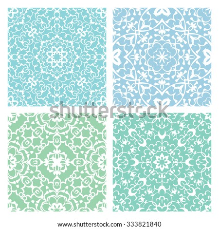 Set of four cold color lacy quadrate seamless oriental backgrounds - stock vector