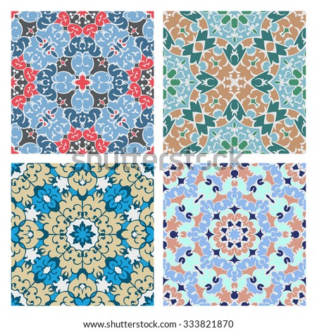 Set of four cold color quadrate seamless oriental backgrounds - stock vector