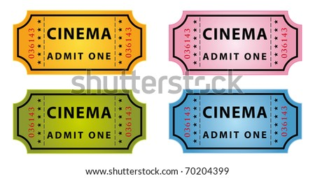 set of four color cinema tickets