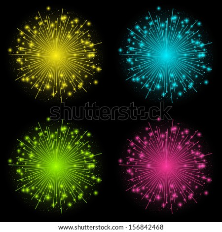 Set of four color fireworks - stock vector