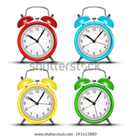 Set of four colored alarm clocks.  Vector illustration  - stock vector