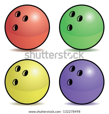 Set of four colored bowling balls with outline. - stock vector