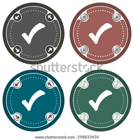 Set of four colored flat simple frames and check box - stock vector