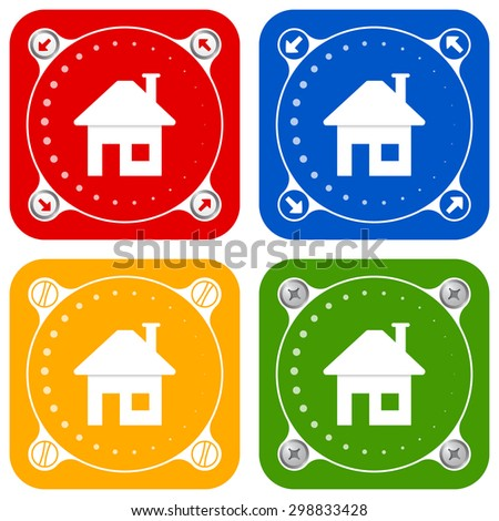 Set of four colored flat simple frames and home symbol