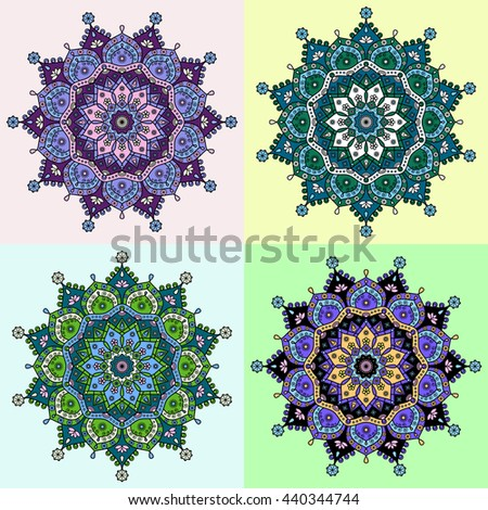 Set of four colored versions of floral mandala pattern in tones of purple, green, blue, black & violet. - stock vector