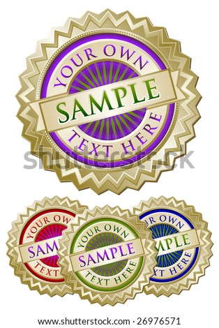 Set of Four Colorful Emblem Seals Ready for Your Own Text. - stock vector