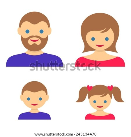Set of four colorful family member vector icons - stock vector