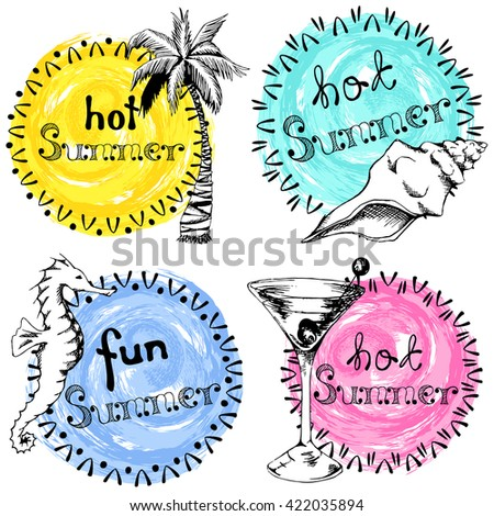 Set of four colorful hand drawn summer labels (eps10); - stock vector