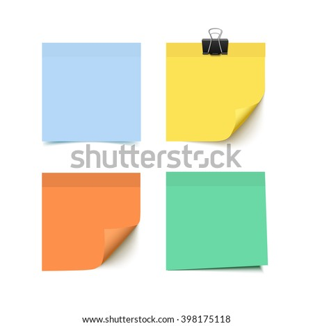 Set of four colorful sticky notes. Realistic vector illustration of sticky paper. - stock vector