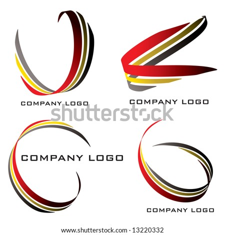 Set of four company logos in red gold and black - stock vector