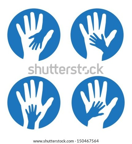 Set of four concepts featuring children's and adults' hands - stock vector