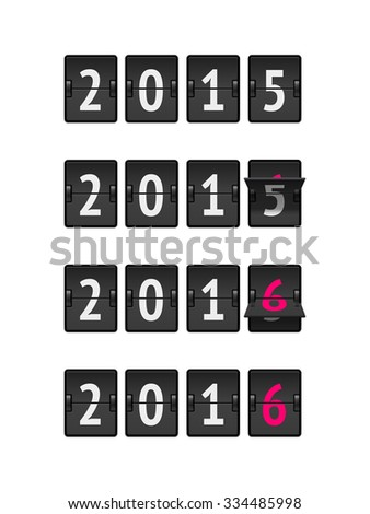 Set of four countdown timers with 2015 and 2016 numbers and flips. Analog scoreboard flip calendar change represents the new year 2016. - stock vector