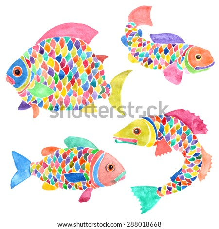 Set of four creative fishes with multicolor scales, fins and tails. Hand-painted watercolor illustration. Vector design.