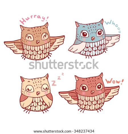 Set of four cute cartoon owls with various emotions. Colored illustration in vector. - stock vector