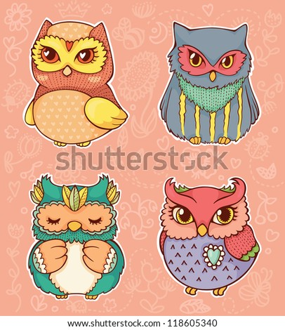 Set of four cute hand drawn owls. - stock vector