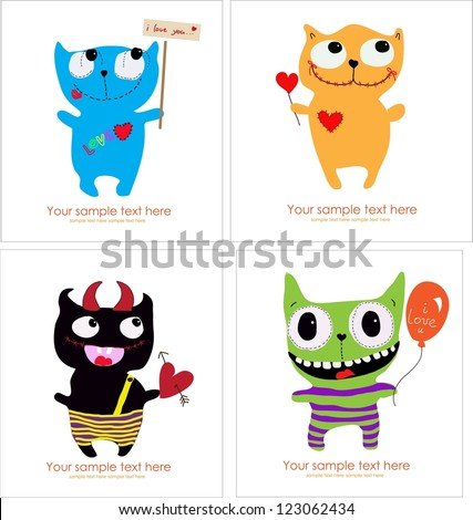 set of four Cute Monster Card - stock vector
