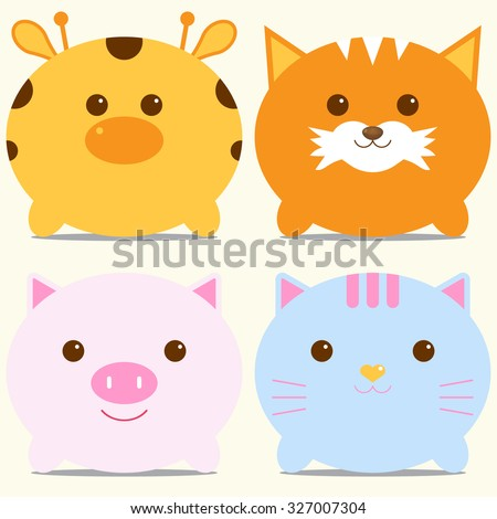 Set of four cute round animals - giraffe, fox, pig and cat. Vector illustration. For menu, cards, invitations, wedding or baby shower albums, backgrounds, wallpapers, arts and scrapbooks. - stock vector