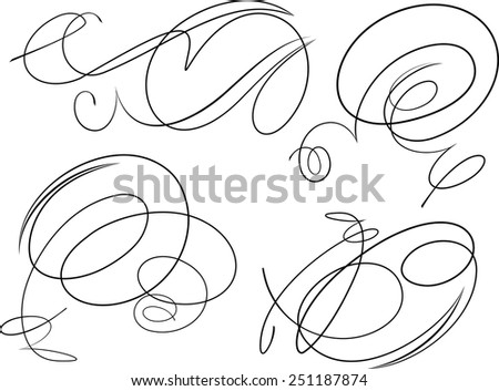 Set of four decorative swirls - stock vector