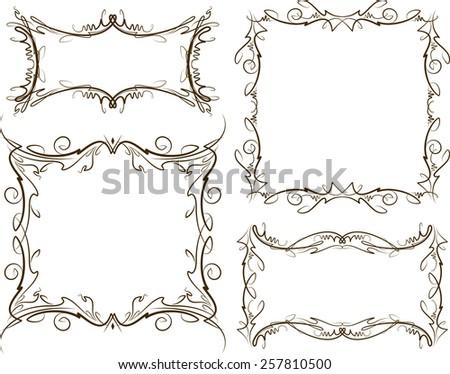 Set of four decorative vintage frames. - stock vector