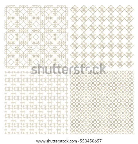 Set of four delicate seamless patterns in oriental style. Arabic ornament wallpaper. Vector backgrounds