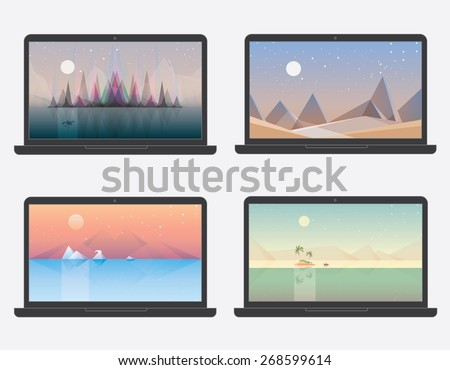 set of four desktop wallpaper landscape illustration designs. Northern lights aurora borealis, sand desert, arctic sea with polar bear, desert island. Abstract geometric minimalistic compositions - stock vector