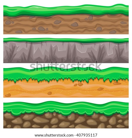 Set of four detailed rocky and sandy seamless grounds with grass for video game