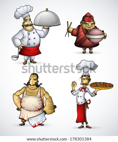 Set of four different chefs - stock vector
