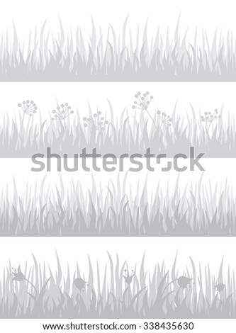 Set of four different grass backgrounds. Vector illustration for your graphic design.