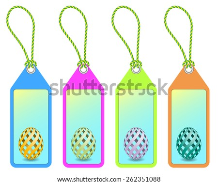 set of four easter shopping tags with easter egg