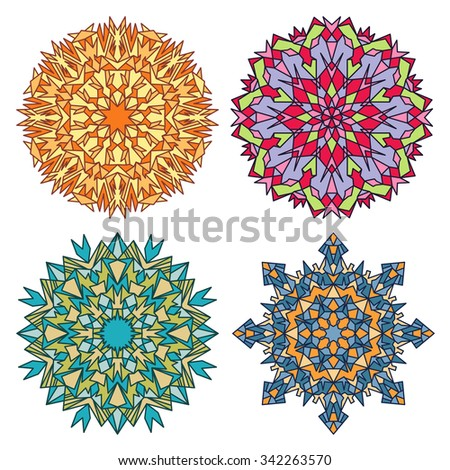 Set of four eastern round stained glass ornaments mandalas isolated over white - stock vector