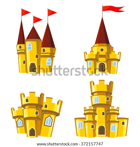 Set of four editable gold castles for game design