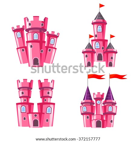Set of four editable pink castles for game design