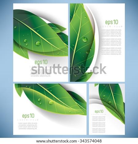 set of four elegant green leaves elements nature ecology business leaflet brochure background design - stock vector
