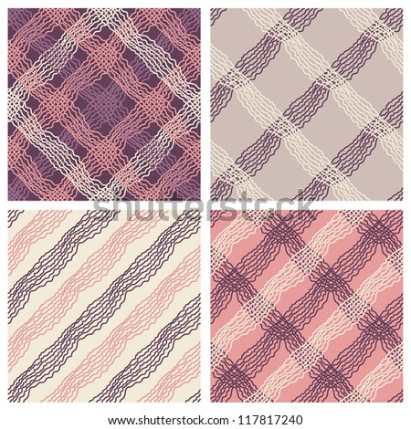 Set of four exceptional patterns. Stylish diagonal plaid pattern, vector repeating texture of cute tartan - stock vector