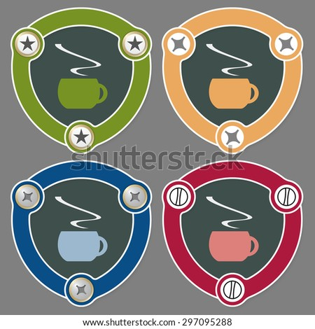Set of four flat icons and cup of coffee - stock vector