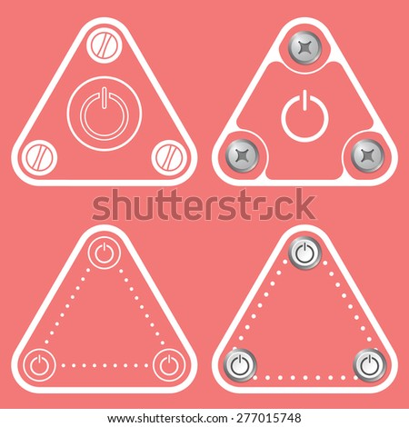 Set of four flat simple frames and power button - stock vector