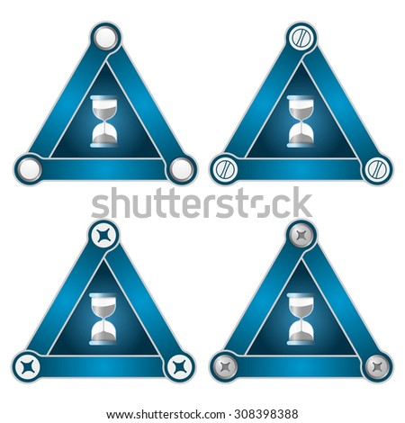 Set of four flat simple triangles with screws and sand glass
