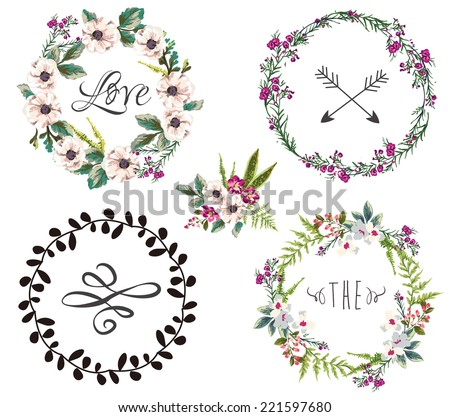 set of four flower wreaths  invitation design - stock vector