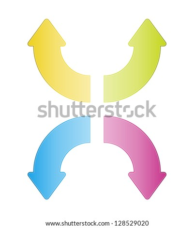Set of four fresh color glossy curve arrows. - stock vector