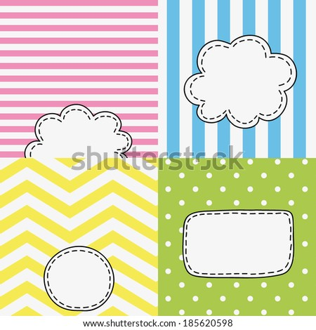 set of four funny colored tags, bubbles with empty space for your text here, spring, summer design  - stock vector