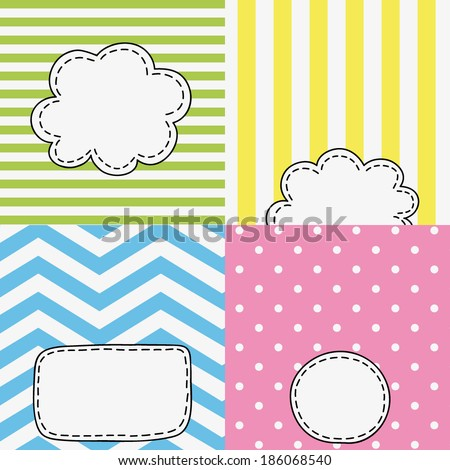 set of four funny colored tags, bubbles with empty space for your text here, spring, summer design for greeting cards, invitations, stickers, scrapbooking elements - stock vector