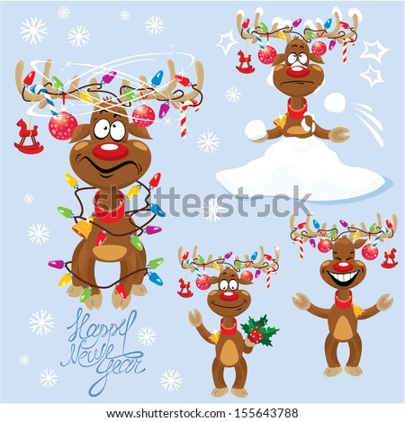 Set of four funny rein deers with christmas lights tangled in antlers  - Cartoons with different emotions for New Year or Christmas Design - stock vector